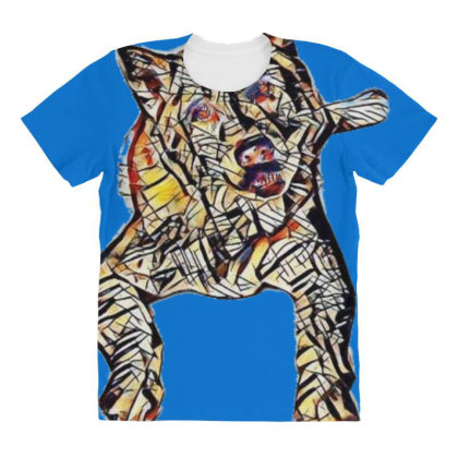 Portrait Of Bored Akita Dog L All Over Women's T-shirt Designed By Kemnabi