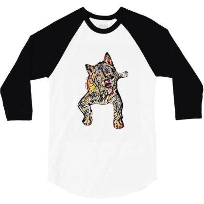 Portrait Of Bored Akita Dog L 3/4 Sleeve Shirt Designed By Kemnabi