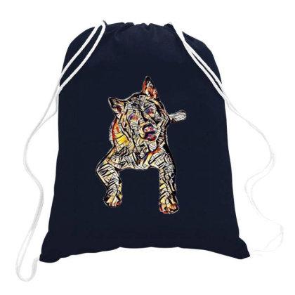 Portrait Of Bored Akita Dog L Drawstring Bags Designed By Kemnabi