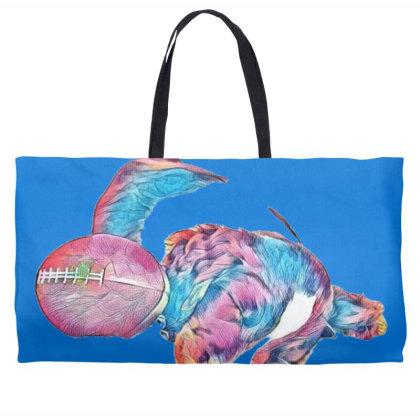 Adorable Young Puppy Sleeping Weekender Totes Designed By Kemnabi
