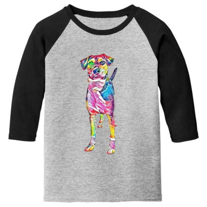 Cute Young Mixed Hound Breed Youth 3/4 Sleeve Designed By Kemnabi