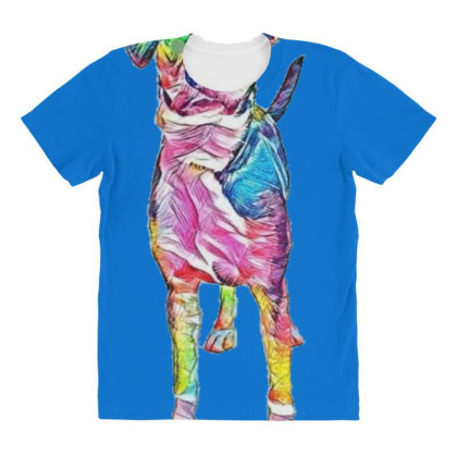 Cute Young Mixed Hound Breed All Over Women's T-shirt Designed By Kemnabi