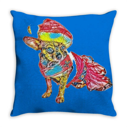 Cute Little Chihuahua Crosbre Throw Pillow Designed By Kemnabi