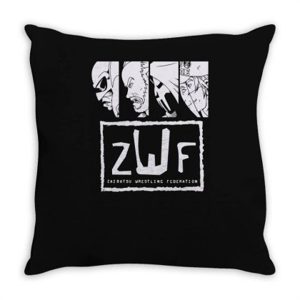 Zaibatsu Wrestling Federation 4 Life Throw Pillow Designed By Lyly