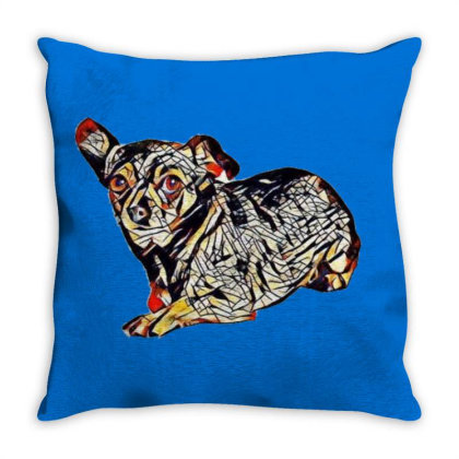 Cute Little Chihuahua Crossbr Throw Pillow Designed By Kemnabi