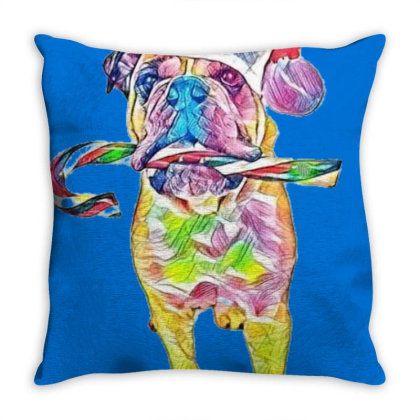 Funny Photo Of An English Bul Throw Pillow Designed By Kemnabi