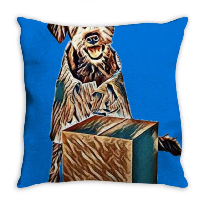 Friendly Mixed Breed Terrier Throw Pillow Designed By Kemnabi