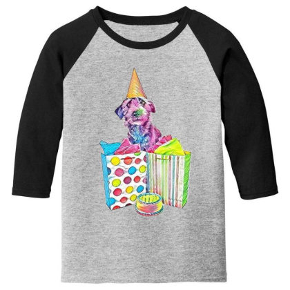Funny Photo Of A Dog Wearing Youth 3/4 Sleeve Designed By Kemnabi