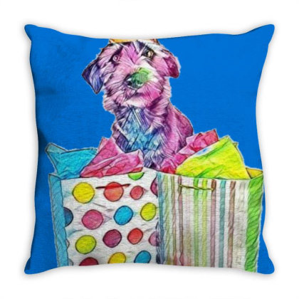 Funny Photo Of A Dog Wearing Throw Pillow Designed By Kemnabi