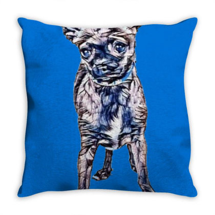 Cute Little Brown Color Chihu Throw Pillow Designed By Kemnabi