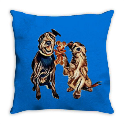 A Little Terrier Dog Giving A Throw Pillow Designed By Kemnabi