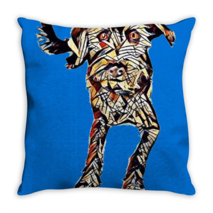 Cute Mixed Breed Terrier Dog Throw Pillow Designed By Kemnabi