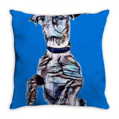 Cute And Funny Dog Standing T Throw Pillow Designed By Kemnabi