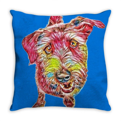 Funny Crossbreed Dog Sitting Throw Pillow Designed By Kemnabi