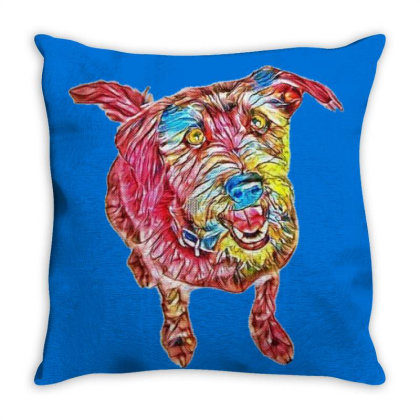 Cute And Happy Mixed Breed Sc Throw Pillow Designed By Kemnabi