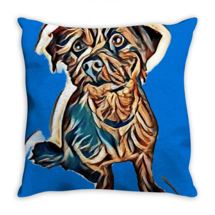 Cute Terrier Mixed Breed Dog Throw Pillow Designed By Kemnabi