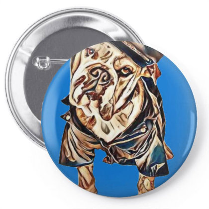 Funny Photo Of A Large Bulldo Pin-back Button Designed By Kemnabi