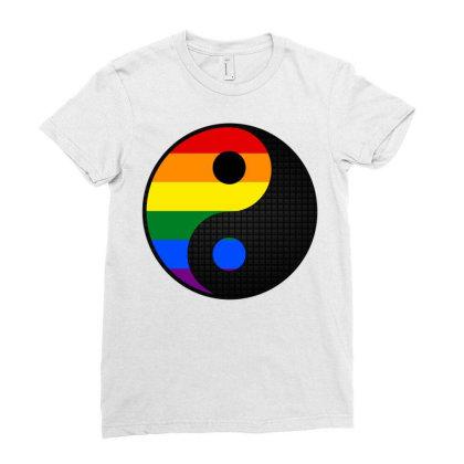 Ying Yang Lgbt Ladies Fitted T-shirt Designed By Badaudesign