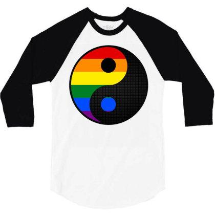 Ying Yang Lgbt 3/4 Sleeve Shirt Designed By Badaudesign