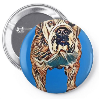 Curious And Alert Large Bulld Pin-back Button Designed By Kemnabi