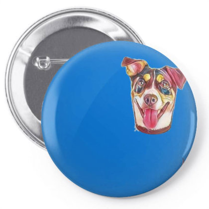 Closeup Of A Happy Dog With A Pin-back Button Designed By Kemnabi