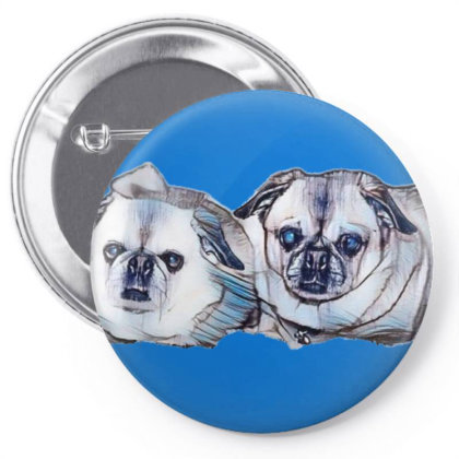 Two Cute Little Pug And Pekin Pin-back Button Designed By Kemnabi