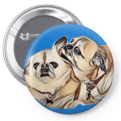 Two Cute Pug And Pekingese Mi Pin-back Button Designed By Kemnabi