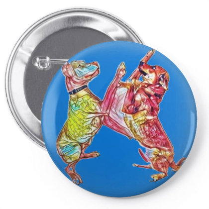Two Friendly Mixed Large Bree Pin-back Button Designed By Kemnabi