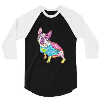 Cute French Bulldog Breed Dog 3/4 Sleeve Shirt Designed By Kemnabi