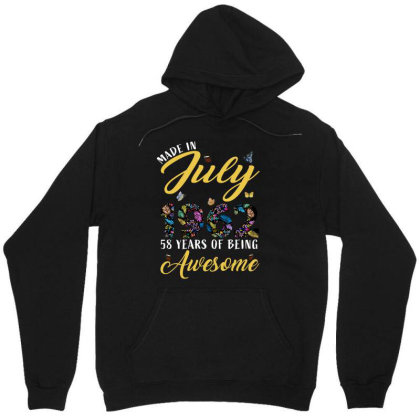 Made In July 1962 58 Years Of Being Awesome Unisex Hoodie Designed By Ashlıcar