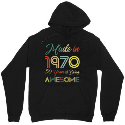 Made In 1970 50 Years Of Being Awesome Unisex Hoodie Designed By Ashlıcar