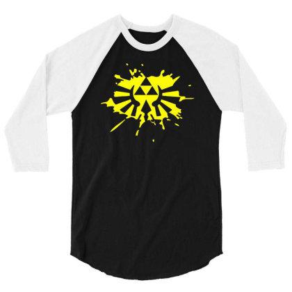 Zelda Link Hylian Shield Triforce Splat 3/4 Sleeve Shirt Designed By L4l4pow