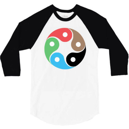 Zentao Symbol As Evolution Of The Tao (yin Yang) 3/4 Sleeve Shirt Designed By L4l4pow