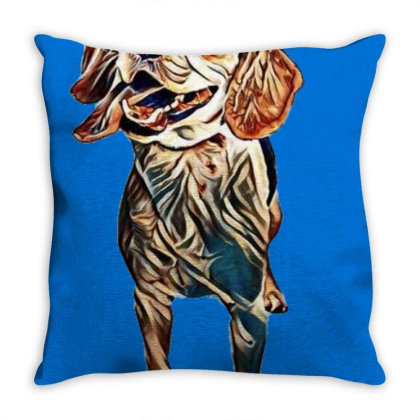 Happy And Active Young Beagle Throw Pillow Designed By Kemnabi