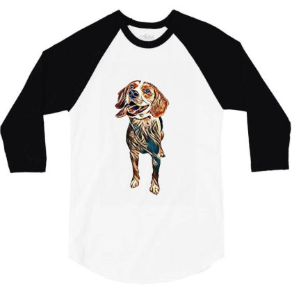 Happy And Active Young Beagle 3/4 Sleeve Shirt Designed By Kemnabi