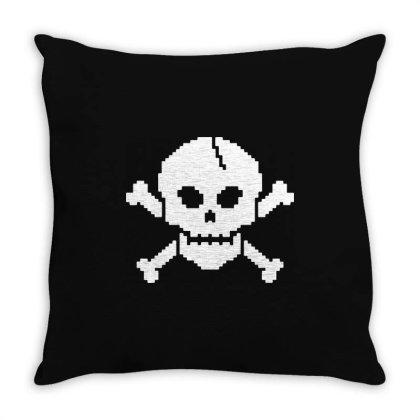 8 Bit Skull Throw Pillow Designed By L4l4pow