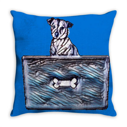 Cute Little Rescue Mixed Bree Throw Pillow Designed By Kemnabi