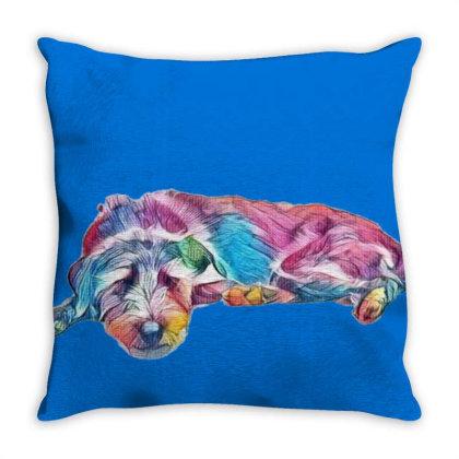 Mixed Breed Medium Sized Grey Throw Pillow Designed By Kemnabi