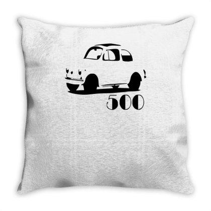 500 Fiat Vintage Auto Throw Pillow Designed By L4l4pow