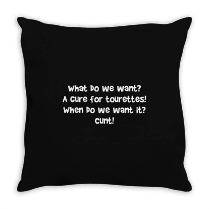 A Cure For Tourettes   Funny Adult Humour Throw Pillow Designed By L4l4pow
