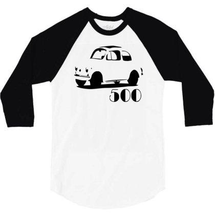 500 Fiat Vintage Auto 3/4 Sleeve Shirt Designed By L4l4pow