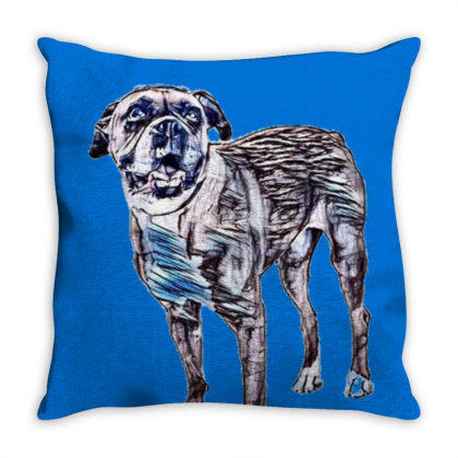 Happy Boxer Breed Dog Wearing Throw Pillow Designed By Kemnabi