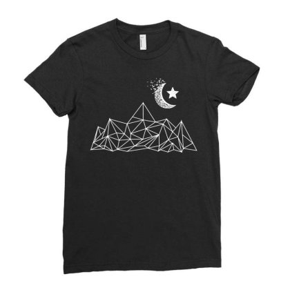 Mountain Moon Hiking Ladies Fitted T-shirt Designed By G3ry