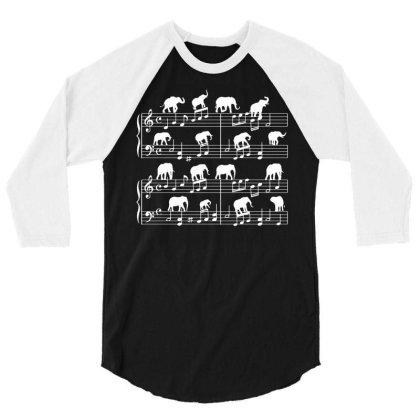 Music Sheet Elephant 3/4 Sleeve Shirt Designed By G3ry