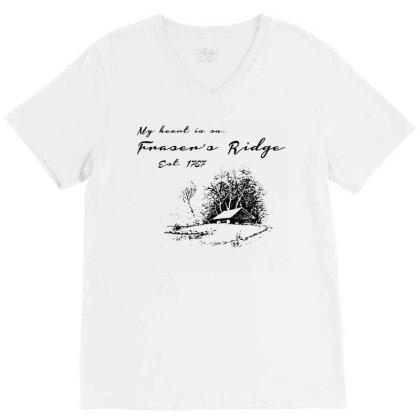 My Heart Is On Fraser's Ridge V-neck Tee Designed By G3ry