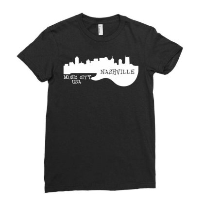 Nashville, Music City Usa Ladies Fitted T-shirt Designed By G3ry
