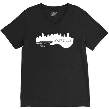 Nashville, Music City Usa V-neck Tee Designed By G3ry