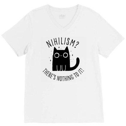 Nihilism Cat V-neck Tee Designed By G3ry