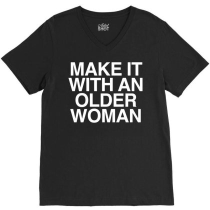 Older Woman V-neck Tee Designed By G3ry