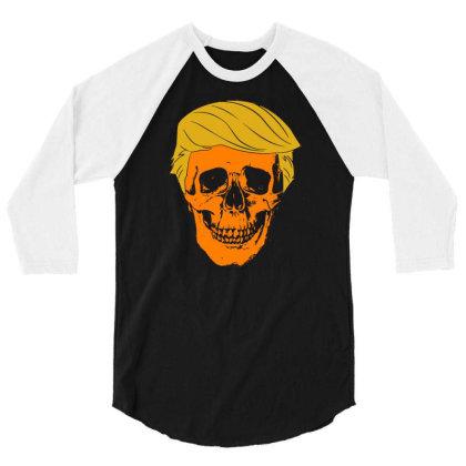 Orange Skull 3/4 Sleeve Shirt Designed By G3ry